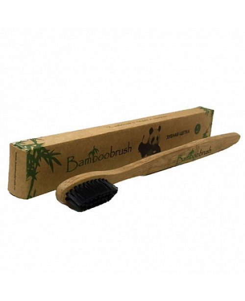 Зубная щетка Bamboobrush из бамбука с угольным напылением (средняя жесткость)