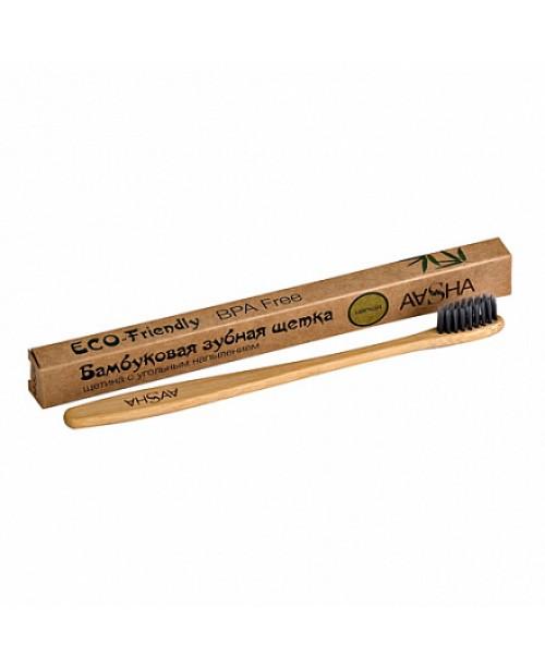Зубная щетка Aasha из бамбука с угольным напылением (мягкая)