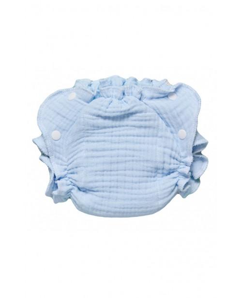 Многоразовый подгузник для новорожденных NEWBORN из муслина. Голубой или персик, в комплекте 1 вкладыш