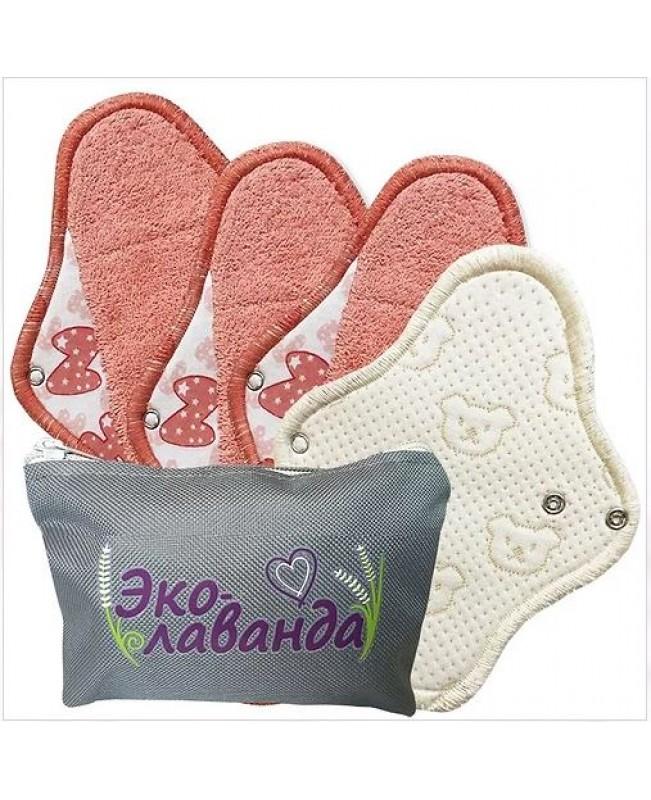 Набор многразовых прокладок в сумочке, цвет персик (4 шт)