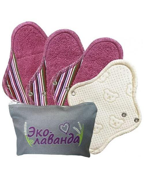 Набор многразовых прокладок в сумочке, цвет сиреневая полоска (4 шт)